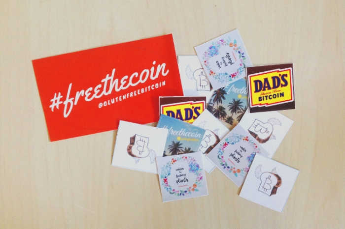 Gluten Free Bitcoins sends out stickers to promote Bitcoin!